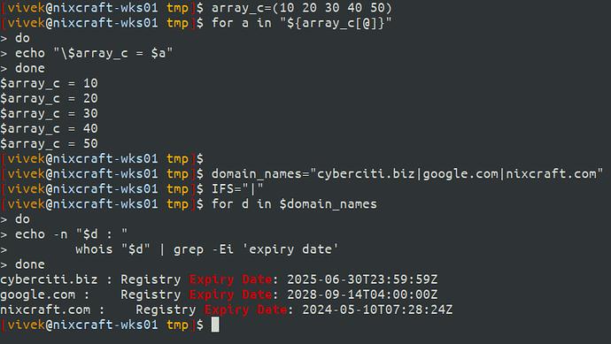 bash script iterator examples