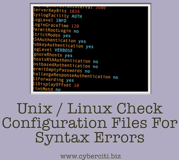 Check for syntax errors on Linux or Unix