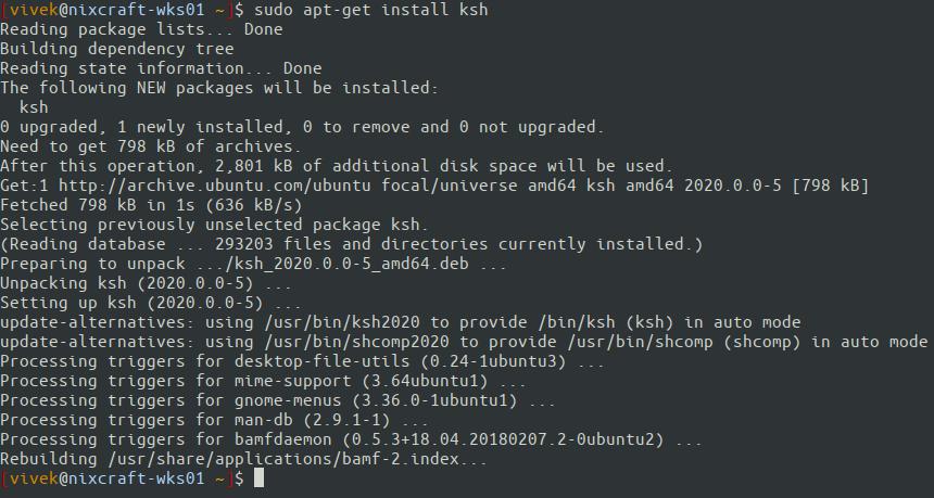 Installing KSH on Ubuntu Linux using apt-get